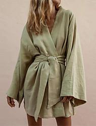 Недорогие -Жен. Классический Рубашка Платье - Однотонный Мини