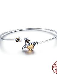 Недорогие -Подлинная стерлингового серебра 925 пробы горячее надувательство пчелы блеск цепи браслет для женщин оригинальная ссылка браслет подарок ювелирных изделий способа