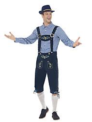 billige -Halloween Karneval Oktoberfest Trachtenkleider Herre bayerske Blekk Blå Bluse Bukser Hat