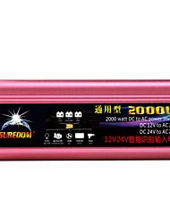 Недорогие -высокое качество автомобильный инвертор 12vand24v до 220v 2000w многофункциональное автомобильное зарядное устройство / инвертор / конвертер с USB-разъемом
