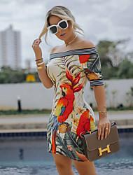 Недорогие -Жен. Изысканный Элегантный стиль Облегающий силуэт Оболочка Маленькое черное Платье - Цветочный принт, Пэчворк С принтом Выше колена Тропический лист