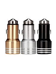 Недорогие -безопасность молоток грузовик зарядное устройство производитель двойной USB автомобильный мобильный телефон прикуриватель интеллектуальное зарядное устройство из алюминиевого сплава