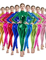 """Недорогие -Костюмы на все тело """"зентай"""" Косплэй Kостюмы Костюмы кошки Взрослые Латекс Лайкра Косплэй костюмы Пол Муж. Жен. Зеленый / Лиловый / Розовый Однотонный Хэллоуин Карнавал Маскарад / Кожаный костюм"""
