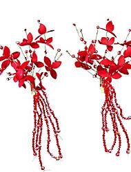 Недорогие -Сплав с Crystal / Rhinestone / Цветы 1 пару × 2 Свадьба Заставка