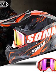 Недорогие -зоман sm633 мотокросс внедорожный шлем ece мотоцикл защитная безопасность взрослый мотоцикл откидывать солнцезащитный щиток с очками sm15 очки - оранжевый