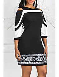 Недорогие -Жен. Элегантный стиль Тонкие Оболочка Платье - Контрастных цветов До колена