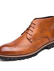 baratos -Homens Sapatos de couro Pele Napa Primavera / Outono Negócio / Casual Oxfords Caminhada Não escorregar Preto / Marron