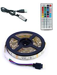 billige -5 m Fleksible LED-lysstriper / RGB-lysstriper / Fjernkontroller 300 LED SMD5050 1 44Kjør fjernkontrollen Multifarget Vanntett / USB / Fest 5 V 1set