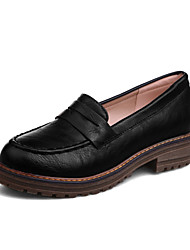 cheap -Women's Loafers & Slip-Ons Chunky Heel Round Toe PU Vintage / British Fall & Winter Black / Brown / Red