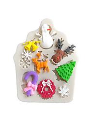 Недорогие -Новогодняя тема лось олень снеговик дерево колокольчик шоколад плесень помадка торт силиконовые формы домашняя выпечка прибор