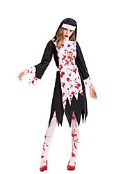 abordables -Pasteur Robe Costume de Cosplay Costume de Soirée Adulte Femme Cosplay Halloween Halloween Fête / Célébration Métissé Coton / Polyester Noir Femme Déguisement Carnaval / Tablier / Chapeau
