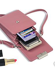 Недорогие -Жен. Молнии PU Мобильный телефон сумка Сплошной цвет Черный / Винный / Небесно-голубой
