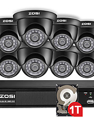 Недорогие -Зоси 720p 8-канальное купольное видео светодиодная черная камера видеонаблюдения гибридный видеорегистратор комплект с жестким диском 1 ТБ HDD для удаленного просмотра на вилле