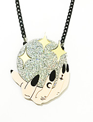 abordables -Collier Pendentif Femme Boule mains Gros Fantaisie Dorée 50 cm Colliers Tendance Bijoux 1pc pour Halloween