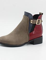 billige -Dame Støvler Blokker hælen Rund Tå Spenne Fuskelær Ankelstøvler Vintage / Fritid Høst vinter Svart / Brun / Grå / Fargeblokk