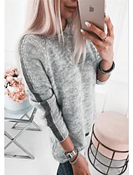 Недорогие -Жен. Контрастных цветов Длинный рукав Пуловер, Круглый вырез Черный / Белый / Розовый S / M / L
