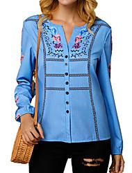 abordables -Chemise Femme, Fleur Imprimé Basique Bleu