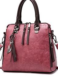 Недорогие -Жен. Молнии PU Сумка с верхней ручкой Сплошной цвет Черный / Винный / Розовый