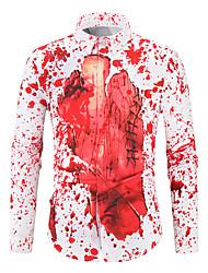 Недорогие -Муж. Пэчворк / С принтом Рубашка Классический / Уличный стиль Контрастных цветов Белый