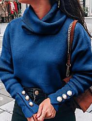 Недорогие -Жен. Однотонный Длинный рукав Пуловер, Хомут Винный / Светло-серый / Синий S / M / L