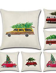 お買い得  -1ピースクリスマス漫画車クリスマスツリーリネン枕ケースクッションカバー