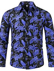 Недорогие -Муж. Рубашка Элегантный стиль / преувеличены Цветочный принт / Контрастных цветов Синий