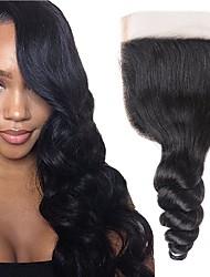 Недорогие -Fulgent  Sun Перуанские волосы / Свободные волны 4x4 Закрытие Волнистый Бесплатный Часть Швейцарское кружево Натуральные волосы Жен. Лучшее качество / Горячая распродажа / Кружевное закрытие