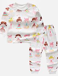 billige -Barn Jente Grunnleggende Trykt mønster Tegneserie Trykt mønster Langermet Tøysett Rosa