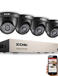 Недорогие -ZOSI HD-TVI 720P DVR 8-канальная система видеонаблюдения видеонаблюдения DVR Kit с 4шт 1280TVL 720p домашней безопасности 8-канальная система камер