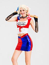 abordables -Harley Quinn Jupe Costume de Cosplay Gants Tenue Costume de Soirée Adulte Femme Cosplay Halloween Halloween Fête / Célébration Métissé Coton / Polyester Rouge Femme Déguisement Carnaval / Haut