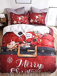 Недорогие -комплект постельного белья на рождество с рождественским подарком печатный 3d простыня наволочка и пододеяльник красное постельное белье постельное белье