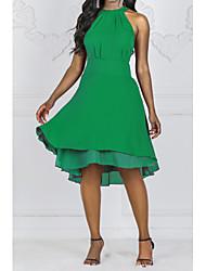 Недорогие -Жен. Большие размеры Тонкие Шифон Платье До колена