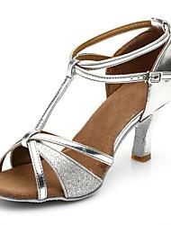 Недорогие -Жен. Танцевальная обувь Лакированная кожа Обувь для латины На каблуках Тонкий высокий каблук Персонализируемая Серебряный