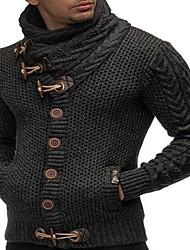 Недорогие -Муж. Однотонный Длинный рукав Пуловер, Хомут Черный / Белый / Тёмно-синий US32 / UK32 / EU40 / US34 / UK34 / EU42 / US36 / UK36 / EU44