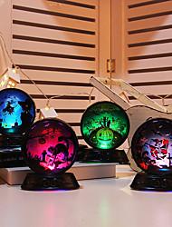 Недорогие -1 шт. Хэллоуин тыква ведьма скелет catus шаблон хрустальный шар ночник красочные кнопки с питанием от батареи новый дизайн творческий украшения