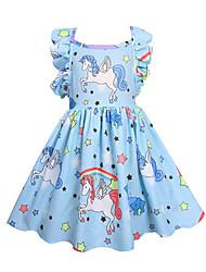 Недорогие -Дети Девочки Активный Unicorn Однотонный Геометрический принт Без рукавов Платье Розовый
