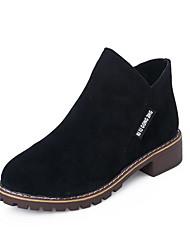 Недорогие -Жен. Ботинки На низком каблуке Круглый носок Замша Ботинки Наступила зима Черный / Темно-коричневый / Военно-зеленный