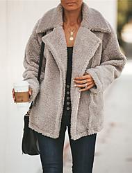 Недорогие -Жен. Повседневные Классический / Шинуазери (китайский стиль) Наступила зима Обычная Пальто, Однотонный Отложной Длинный рукав Полиэстер Военно-зеленный / Бежевый / Серый