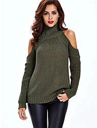 abordables -Femme Couleur Pleine Manches Longues Pullover, Col Arrondi Noir / Blanche / Vert Véronèse Taille unique