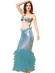 abordables -Femme dames La Petite Sirène Femme Sexy Adulte Sexy Genre Costume de Cosplay Tenue Costume de Soirée Jupe Soutien-gorge Coiffure / Faux Cuir