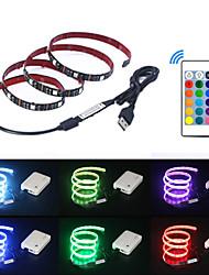 billige -5 m Fleksible LED-lysstriper / RGB-lysstriper / Fjernkontroller 150 LED SMD5050 1 24Kjør fjernkontrollen Multifarget USB / Fest / Dekorativ 5 V 1set