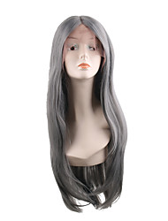 cheap -Synthetic Lace Front Wig Natural Straight Style Middle Part Lace Front Wig Synthetic Hair 28 inch Women's Soft / Adjustable / New Gray Wig Long Natural Wigs