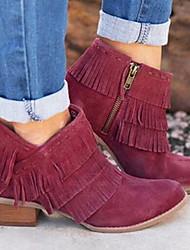 Недорогие -Жен. Ботинки На низком каблуке Круглый носок Замша Ботинки Лето Черный / Вино / Хаки