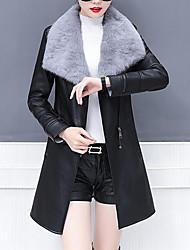 Недорогие -Жен. Повседневные Уличный стиль Зима Обычная Кожаные куртки, Однотонный V-образный вырез Длинный рукав Полиуретановая Черный / Серый