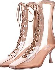 Недорогие -Жен. Ботинки На шпильке Квадратный носок Микроволокно Сапоги до середины икры Лето Черный / Телесный