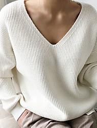 Недорогие -Жен. Однотонный Длинный рукав Пуловер, V-образный вырез Черный / Белый / Синий Один размер