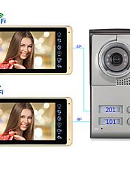 Недорогие -проводная&беспроводная 7-дюймовая громкая связь 1024 * 600 пикселей, один на один, видеодомофон