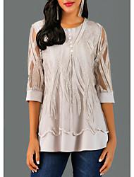 Недорогие -Жен. Блуза С кружевами Геометрический принт Серый / Весна / Осень