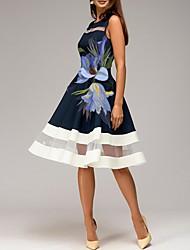 Недорогие -Жен. Классический А-силуэт Платье - Цветочный принт, С принтом До колена