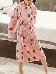 Недорогие -Дети Девочки Однотонный Фрукты Пижамы Розовый